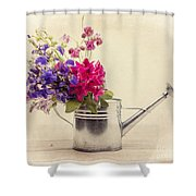 Flowers In Watering Can Shower Curtain by Edward Fielding