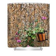 Flowers On Wall - Taromina Shower Curtain by David Smith