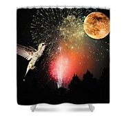 Fly Me To The Moon Shower Curtain by Lynn Bauer