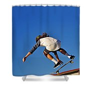 Flying High - Action Shower Curtain by Kaye Menner