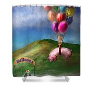 Flying Pig - Child - How I Wish I Were A Bird Shower Curtain by Mike Savad
