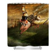 Flying Pig - Steampunk - The Flying Swine Shower Curtain by Mike Savad