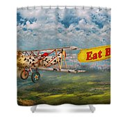 Flying Pigs - Plane - Eat Beef Shower Curtain by Mike Savad
