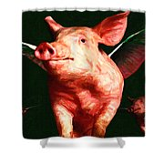 Flying Pigs v1 Shower Curtain by Wingsdomain Art and Photography