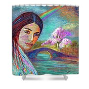 Following The Rainbow Shower Curtain by Jane Small