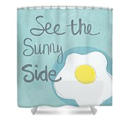 Food- Kitchen Art- Eggs- Sunny Side Up Shower Curtain by Linda Woods