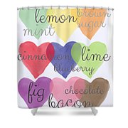 Foodie Love Shower Curtain by Linda Woods