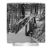 Foot Bridge In Winter Shower Curtain by David Rucker