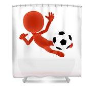 Football Soccer Shooting Jumping Pose Shower Curtain by Michal Bednarek