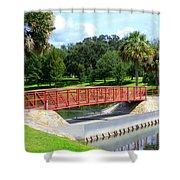 Footbridge In Tuscawilla Park Shower Curtain by Dorothy Menera
