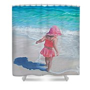 Footprints in the Sand Shower Curtain by Holly Kallie