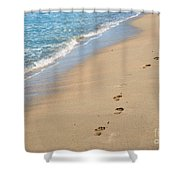 Footprints In The Sand Shower Curtain by Juli Scalzi