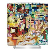 for we have already merited to receive our Holy Torah 4 Shower Curtain by David Baruch Wolk