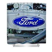 Ford Engine Emblem Shower Curtain by Jill Reger