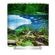 Forest Stream Running Fast Shower Curtain by Michal Bednarek