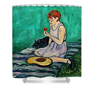 Forget Me Not... Shower Curtain by Xueling Zou