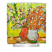 Forsythia And Cherry Blossoms Spring Flowers Shower Curtain by Ana Maria Edulescu