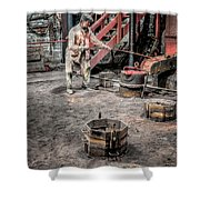 Foundry Worker Shower Curtain by Adrian Evans