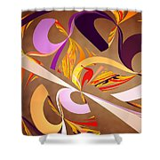 Fractal - Abstract - Space Time Shower Curtain by Mike Savad