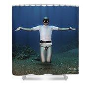 Freediver Underwater Shower Curtain by Hagai Nativ