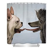 French Kiss Shower Curtain by Leah Saulnier The Painting Maniac