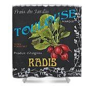 French Veggie Labels 3 Shower Curtain by Debbie DeWitt