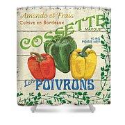 French Veggie Sign 4 Shower Curtain by Debbie DeWitt