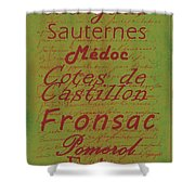 French Wines - 4 Champagne And Bordeaux Region Shower Curtain by Paulette B Wright