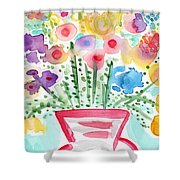 Fresh Picked Flowers- Contemporary Watercolor Painting Shower Curtain by Linda Woods
