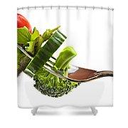 Fresh vegetables on a fork Shower Curtain by Elena Elisseeva