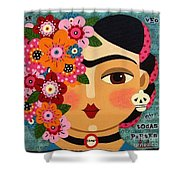 Frida Kahlo With Flowers And Skull Shower Curtain by LuLu Mypinkturtle
