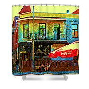 Friends On The Bench At Cartel Street Food Mexican Restaurant Rue Clark Art Of Montreal City Scene Shower Curtain by Carole Spandau