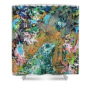 Frog And Fly Shower Curtain by Fabrizio Cassetta