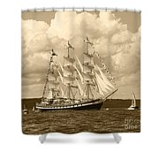 From Russia With Love Shower Curtain by Kym Backland