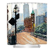Front And Church Shower Curtain by Ian  MacDonald