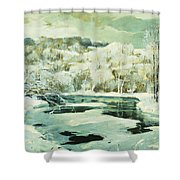 Frosted Trees Shower Curtain by Jonas Lie