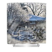 Frosty Winter Window Shower Curtain by Thomas Woolworth