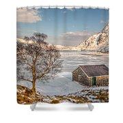 Frozen Lake Ogwen Shower Curtain by Adrian Evans