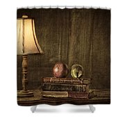 Fruit And Books Shower Curtain by Erik Brede