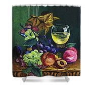 Fruit And Wine Shower Curtain by Karon Melillo DeVega
