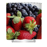 Fruit - Strawberries - Blueberries Shower Curtain by Barbara Griffin