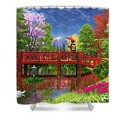 Fuji Lake Shower Curtain by Dominic Davison