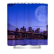 Full Moon Over Manhattan II Shower Curtain by Hannes Cmarits