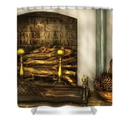 Furniture - Fireplace - A Simple Fireplace Shower Curtain by Mike Savad
