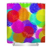 Fuzzy Polka Dots Shower Curtain by Andee Design