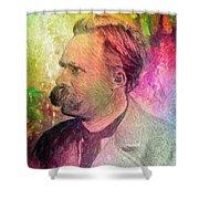 F.w. Nietzsche Shower Curtain by Taylan Apukovska
