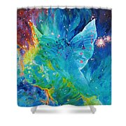 Galactic Angel Shower Curtain by Julie Turner
