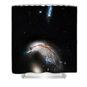Galaxies Collide  Shower Curtain by The  Vault - Jennifer Rondinelli Reilly