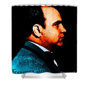 Gangman Style - Al Capone c28169 - Black - Painterly Shower Curtain by Wingsdomain Art and Photography