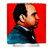 Gangman Style - Al Capone C28169 - Red - Painterly Shower Curtain by Wingsdomain Art and Photography